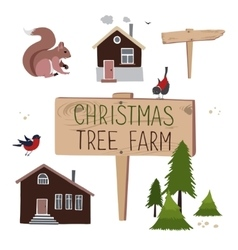 Christmas tree farm Set of objects vector