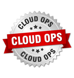 Cloud ops round isolated silver badge vector