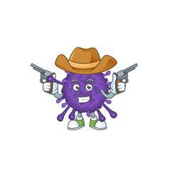 cool cowboy cartoon coronavirinae holding guns vector image