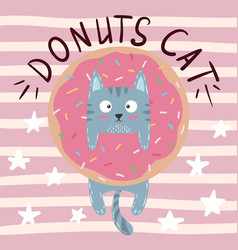 crazy beautiful cat kitty with donut vector image