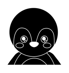 cute portrait penguin animal baby with close eyes vector image