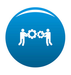 employee with gear icon blue vector image