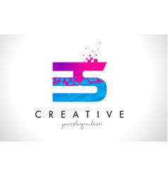 Es e s letter logo with shattered broken blue vector