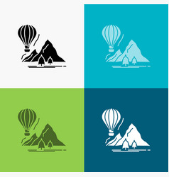 explore travel mountains camping balloons icon vector image
