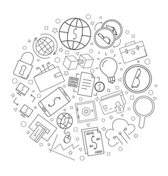 Fintech circle background from line icon vector