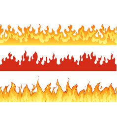 fire banner flame border blazing silhouette or vector image
