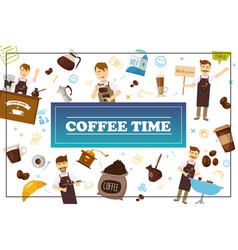 Flat coffee time colorful concept vector