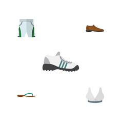 flat icon dress set of trunks cloth sneakers vector image