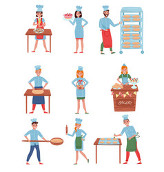 Flat set of bakers characters happy people vector