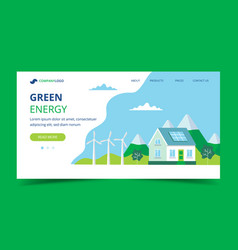 green energy landing page with a house with solar vector image