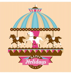 Greeting card with carousel vector