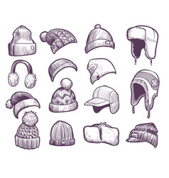 hand drawn winter hats set different knitted vector image