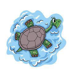 happy cartoon turtle character vector image