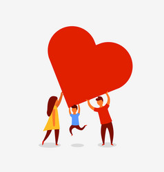 Happy family holding a big red heart love concept vector