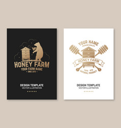 honey bee farm poster flyer template vector image