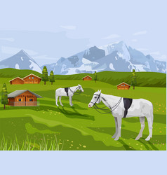 Horses at rural landscape summer vector