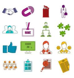 Human resource management icons doodle set vector