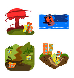 Isolated object cataclysm and disaster sign vector