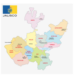 jalisco administrative map with flag vector image