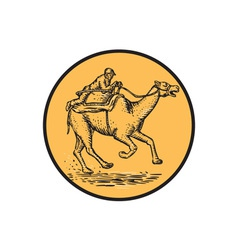 Jockey Camel Racing Circle Etching vector