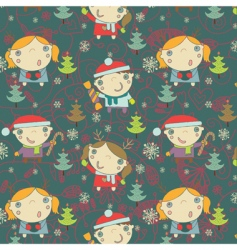 Kids Christmas pattern vector