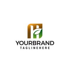 Letter h eco green logo design concept template vector