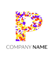Letter p logo with purple yellow red particles vector