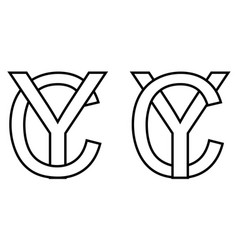 logo sign yc cy icon sign two interlaced letters y vector image