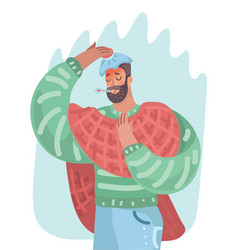 man having a cold or having the flue vector image