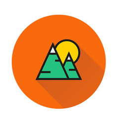 Mountains and sun icon on round background vector