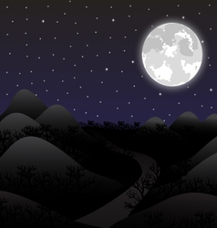 night landscape in full moon vector image