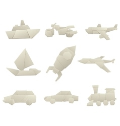 Origami transport collection original flat vector image
