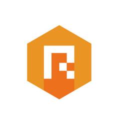 pixel style letter r alphabet r logo icon vector image