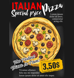 pizza chalkboard poster for fast food design vector image
