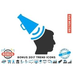 Propaganda Megaphone Flat Icon With 2017 Bonus vector image