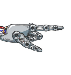 robot hand engraving vector image