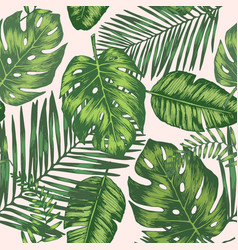 Seamless background with tropic leaves vector