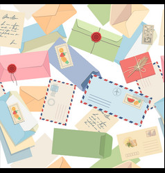 seamless pattern envelopes letters postcards vector image