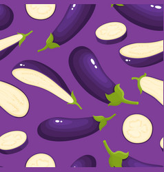 seamless pattern with cartoon eggplants vector image