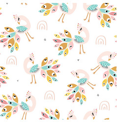 seamless pattern with colorful peacoks and vector image