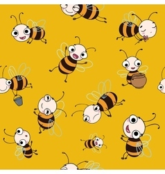 Seamless pattern with cute cartoon bees vector image