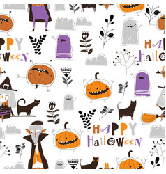 seamless pattern with halloween characters on vector image