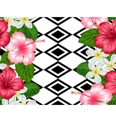Seamless pattern with tropical flowers hibiscus vector