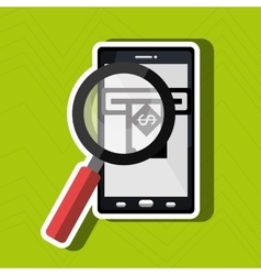 Searching money online isolated icon design vector