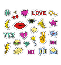 set of fashion patches different badges and pins vector image