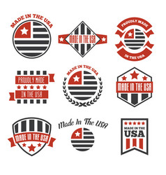 set of made in the usa labels and badges on vector image