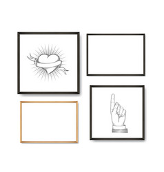 set of realistic light and dark wooden picture vector image