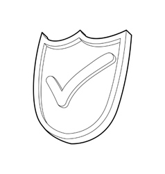 Shield with green tick icon outline style vector image