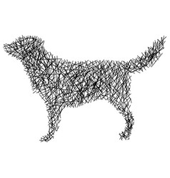 silhouette cat with messy straight lines vector image