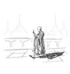Sketch of buddhist monk with smart phone in hand vector